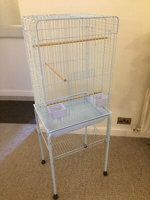 Large Bird Cage Parrot Finch Play Top Parakeet Perch Pet Feeding Stand Wheels