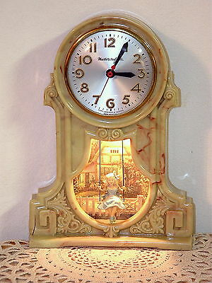 Vtg Mastercrafters Swinging Girl Lighted Motion Clock Sessions Child On Swing