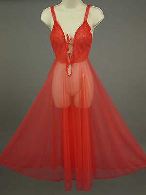 Vintage 70s Pandora Lingerie Sheer Red Negligee Nightgown Lace Bodice Size SM