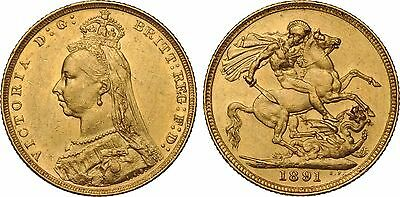 1891 24k GOLD PLATED Queen Victoria Full Sovereign United Kingdom - COPY COIN