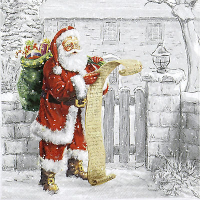 4x Paper Napkins -Wish List Santa- for Party, Decoupage