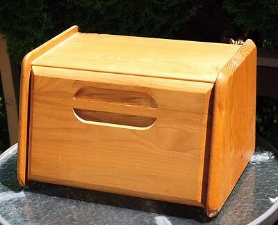 Vintage Solid Oak Cornwall Bread Box Primitive Counter Top Style Large