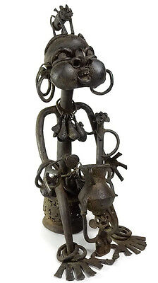 MEGA RARE Antique African Tribal Tikar Cast Bronze Magical Female Statue