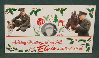Elvis Presley Holiday Greetings Postcard Colonel 1959 Western Union Ad VG+