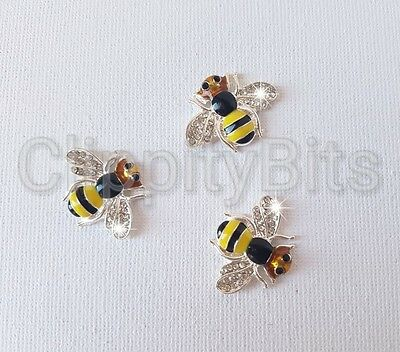 25mm Rhinestone Diamante Bumble Bee Bling Flatback Centre 3 Bees Supplied
