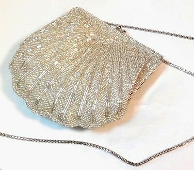 Vintage Mercury Silver Glass Beaded Bag Scallop Shell Clutch Shoulder Evening