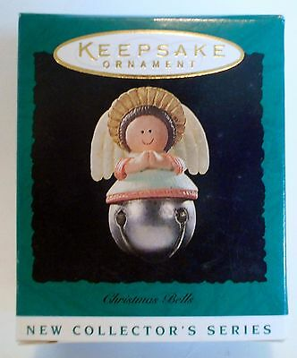 "1995 Hallmark Miniature Ornament ""Christmas Bells"" Angel #1 in Series MIB"