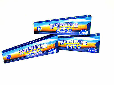 Elements Pre Rolled 1 1/4 Cones 3 Pack - 6 Cones in 1 Pack - Ultra Thin Rice RYO
