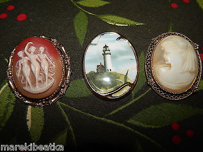 Vtg  Beautiful 3 Cameos Brooches , Pins