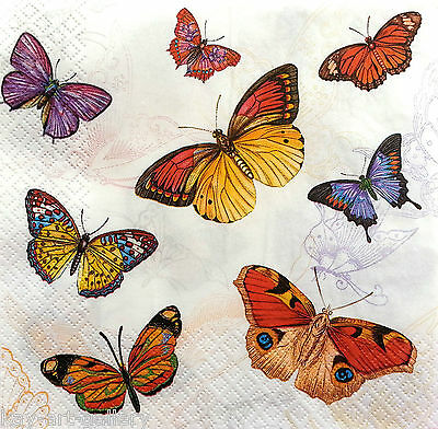 4 x Single  Table Paper Napkins / Craft / Party /for Decoupage / Butterflies