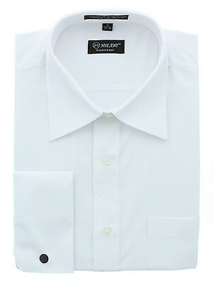 Milani Men's Dress Shirts with Standard & French Cuff Styles - White