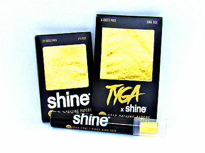 3 x Shine 24K 1 1/4 Size Rolling Papers Shine Gold Cone Tyga KS Gold Papers PURE