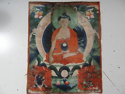 ANTIQUE   MONGOLIAN BUDDHIST THANGKA PAINTING of BUDDHA