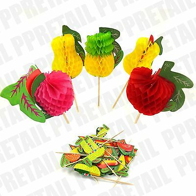 LARGE 36 PACK Fruit Shaped COCKTAIL STICK Drinks Decoration Wooden Spike NEW