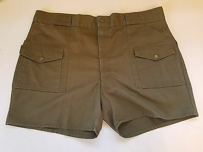 Vintage BSA Boy Scouts Olive Green OG Uniform Shorts Size Waist 40 Snap Pockets