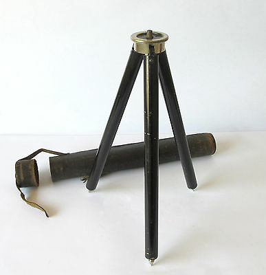Antique Camera Tripod - Metal With Original Leather Case