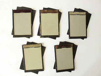 """5 x Vintage A.P. Paris darkslides / plate holders  5 x 3 1/4"""" - with glass"""
