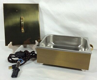 Vintage EAGLE SOLID BRASS Stainless Countertop Food Warmer 10A - 125 V  Made USA