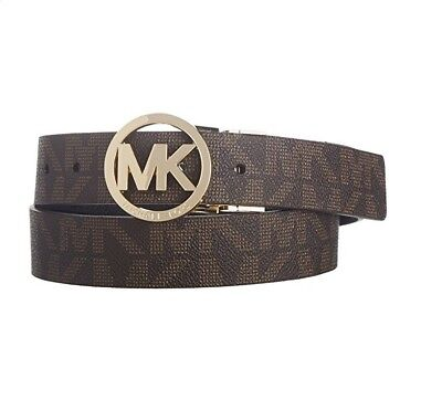 New Micheal Kors Signature Mk Logo Women Brown Leather Reversible Belt 551342