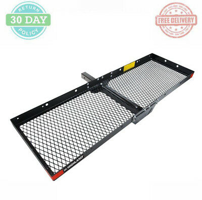Mounted Cargo Tray Steel Hitch Rack Collapsible Sturdy Resists Rust