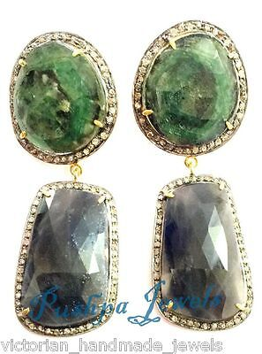 Victorian 1.5ct Rose Cut Pave Diamond Sterling Silver Emerald & Sapphire Earring