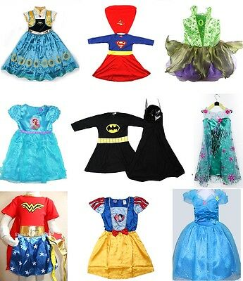NEW Size 1--12 KIDS COSTUMES GIRLS DRESS UP PARTY SUPERHERO DISNEY TODDLER CHILD