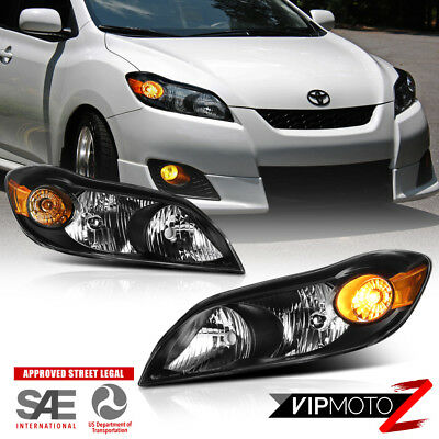 2009-2014 Toyota Matrix [Factory Style] Black Headlight Assembly Amber Reflector