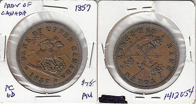 Province of Canada 1857 one penny token PC-6D AU