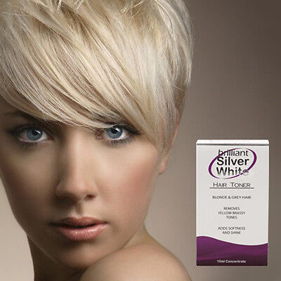 Brilliant Silver White - Magic Hair Toner for Platinum Blonde, Grey, White Hair