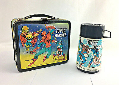 Vintage 1976 Metal Lunchbox Lunch Box w/ Thermos Marvel Comics' Super Heroes