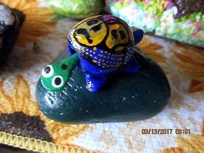 Bobble Head Turtle on Rock-Multi-Colored on Green Stone 3x3