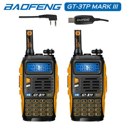 2* Baofeng GT-3TP+ 1*USB Cable V/U Tri-Power 1/4/8W Ham Two-way Radio