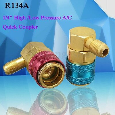 1/4'' High(Red) / Low(Blue) Pressure A/C Quick Coupler R-134a R134a Bass Adapter
