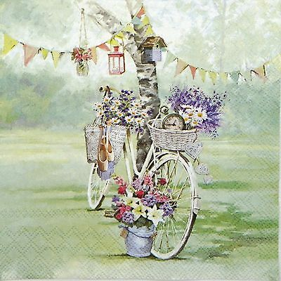 4x Paper Napkins for Decoupage Decopatch Craft Bike & Flower