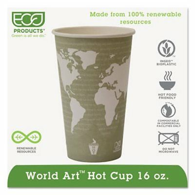 World Art 16-oz. Compostable Hot Cups, 1,000 Cups (ECP EP-BHC16-WA)