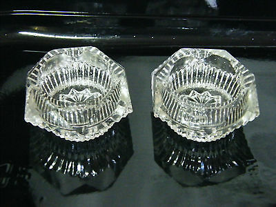 2 Footed Cut Glass SALTS 6 Sided 1.9inDia70gms Tot