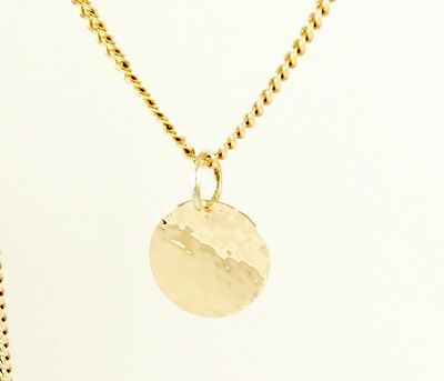 Solid 9ct Yellow Gold 11mm Reversible Disc Pendant  Hammered & Polished Finish