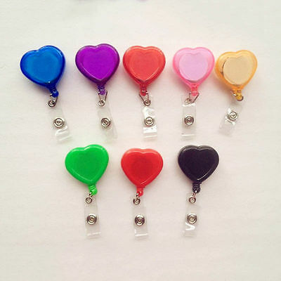 Heart Shaped Lot 10PCS ID Badge Holder Reel Retractable Key Clip US Shipping