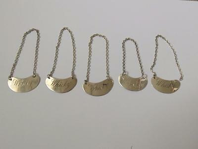 5 X Silver Whiskey Decanter Labels Miniatures 1913-1914 Makers  Estate Cleared