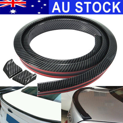 AU 4.9FT Carbon Fiber Car Rear Roof Trunk Spoiler Bumper Wing Lip Sticker Kit