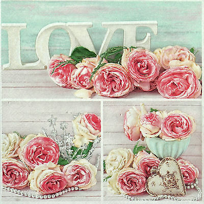 4x Paper Napkins for Decoupage Decopatch Craft Rose Collage