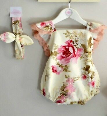 Infant Baby Girls Lace Floral Romper Bow Clothes Outfits Summer 0-24M UK Stock
