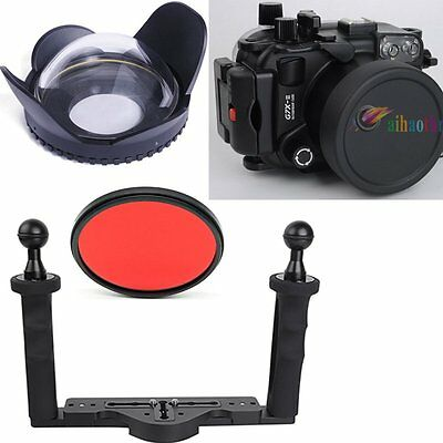 Meikon 40m/130ft Diving Case Fisheye Wide Angle Lens For Canon G7XII 24-100mm