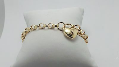 9Ct Yellow Gold Belcher Link Chain Bracelet & Heart Locket 9.30 Grams-  19Cm