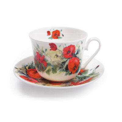 Roy Kirkham Breakfast Cup and Saucer Poppy Flowers Tea Drinks Home Dining