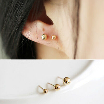 New 925 Sterling Silver Gold Coated Solid Ball Bead Earrings Ear Piercing Studs