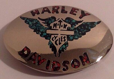 Vtg Artisan Made Harley Davidson Motorcycles Belt Buckle Turquoise & Coral Inlay