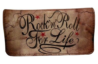 Tobacco Case Pouch Synthetic Leather Wallet Bag Smoke Rolling Rock N' Roll Life