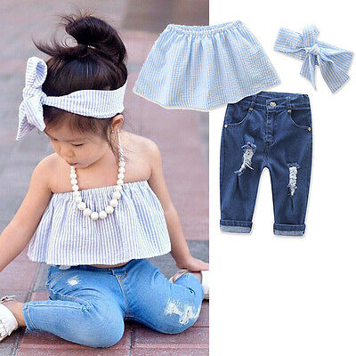 UK Toddler Kids Baby Girls Tank Tops Blouse+Ripped Denim Pants 3pcs Outfits Set