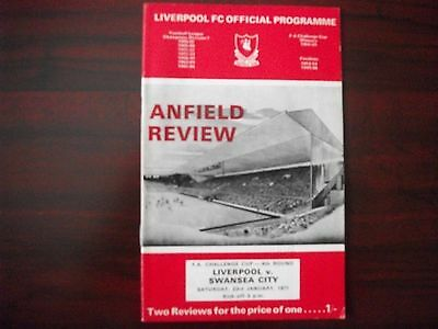 Liverpool v Swansea City Programme FA Cup 4R 23.1.71 inc FLR 524  Southend